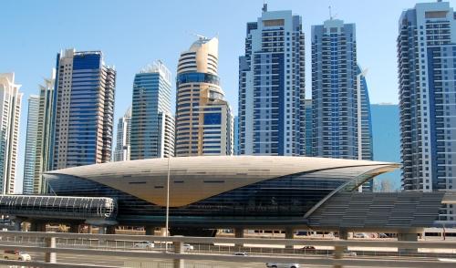 Dubai train station and skyline. Photo by Guy Bergstrom.